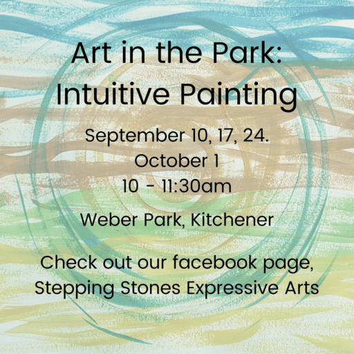A Poster that provides details about Intuitive Painting sessions help in a local park